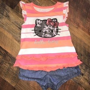 Hello kitty top and old navy shorts